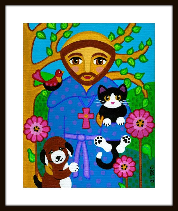 Kind St Francis Is Taking A Nice Walk In The Woods With 3 Of His Animal Friends This Is A Print Of My Original Acrylic O Cat Art Print Dog Print Art