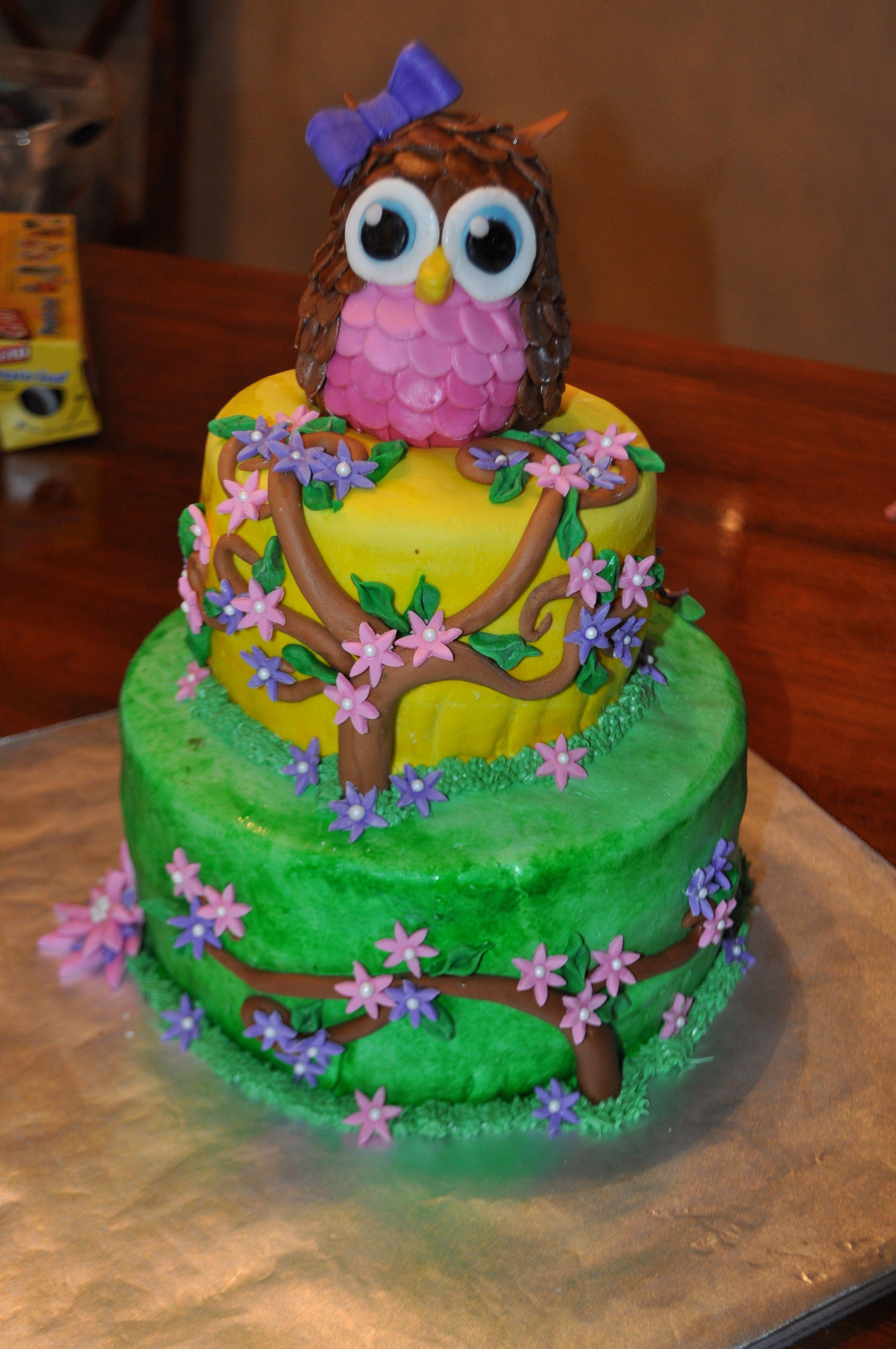 Owl Cake For A Girl Baby Shower.