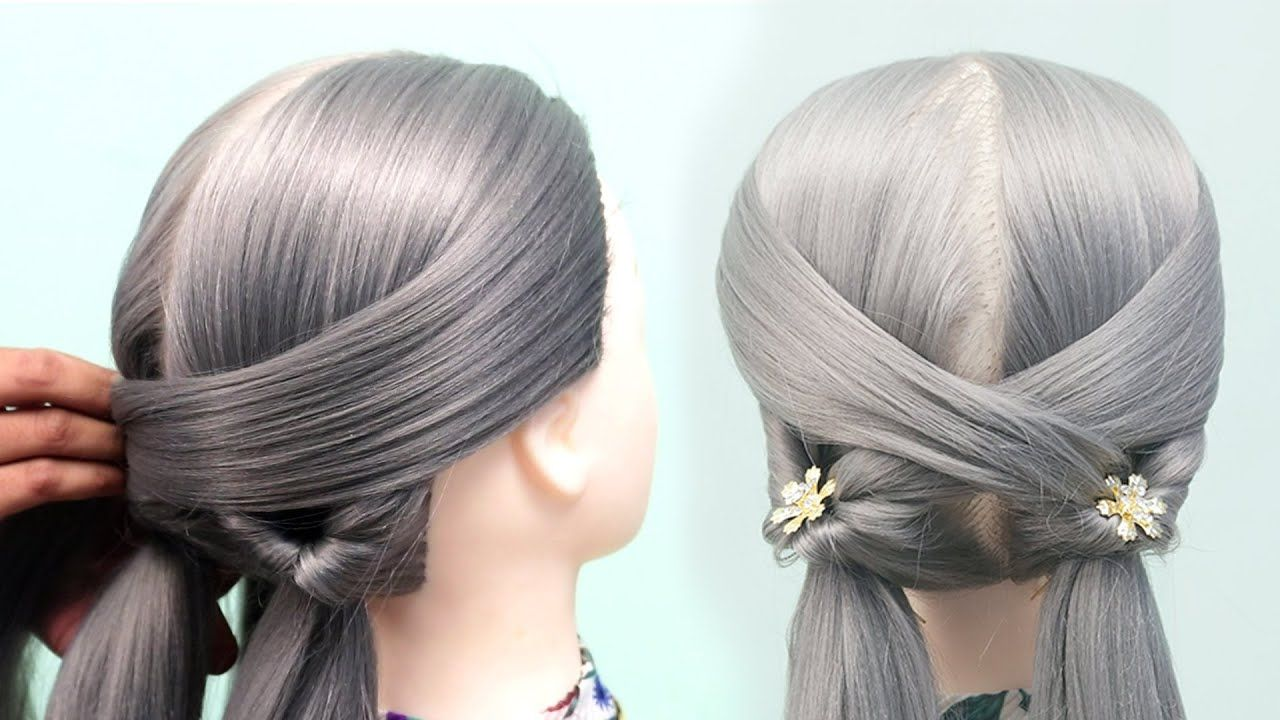 Party Wear Hairstyle For Medium Hair  Easy Part Hairstyle For