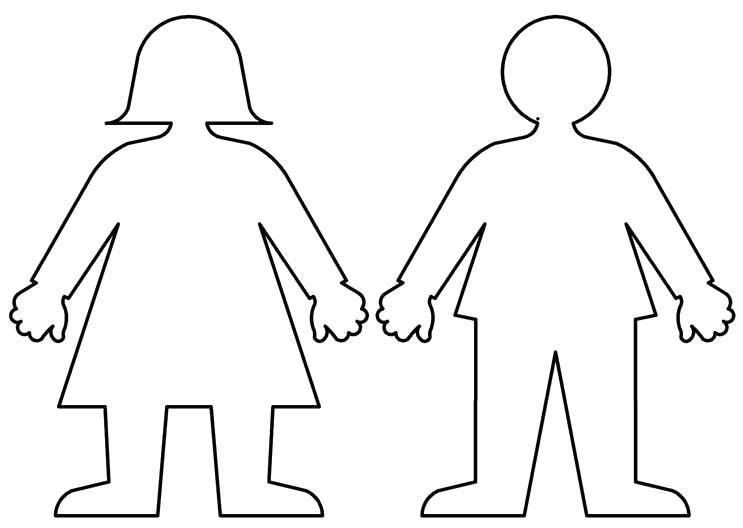 Раскраска шаблон человека шаблон мальчик и девочка для ...
