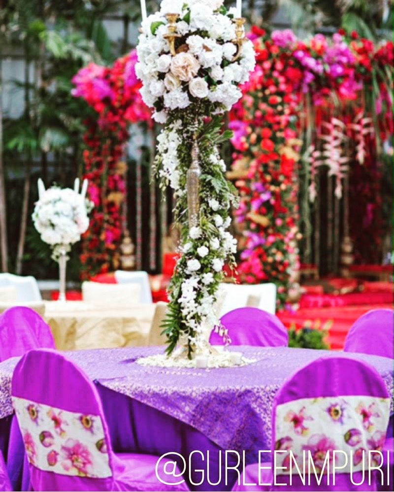 Wedding stage decoration design  Gorgeous table decor besides a stunning stage  Wedding Design by