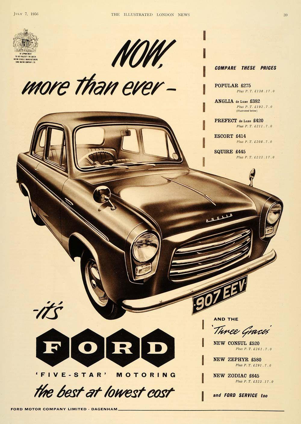 1956 Ad British Ford Anglia Car Automobile Dagenham Like How A