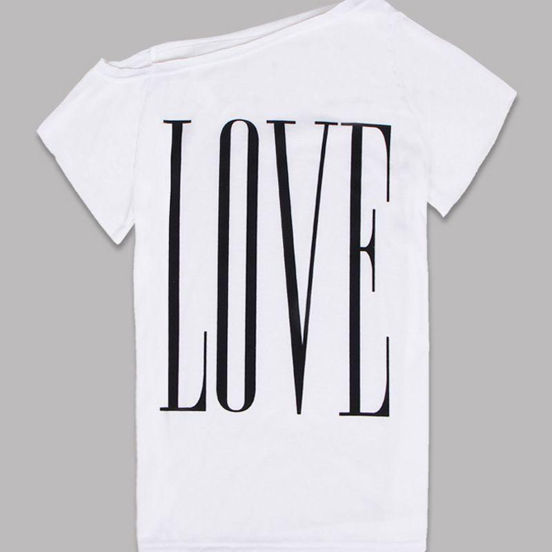 fe80fe33cbf0b LOVE Off the Shoulder Women s T-Shirt in White   Black   Grey in ...