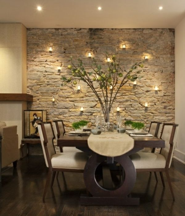 wohnideen natursteinwand leuchten essplatz rustikal - Rustikale Wohnideen