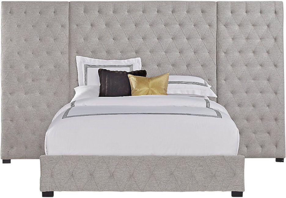 Dalena Gray 5 Pc Queen Wall Bed Grey bedding, One room