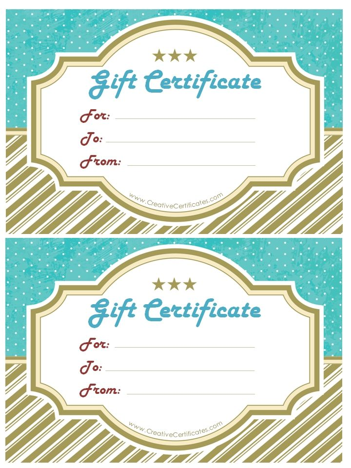 Gift Certificate Template With Gold Stripes At The Bottom And Blue   Homemade  Gift Vouchers Templates  Homemade Gift Vouchers Templates