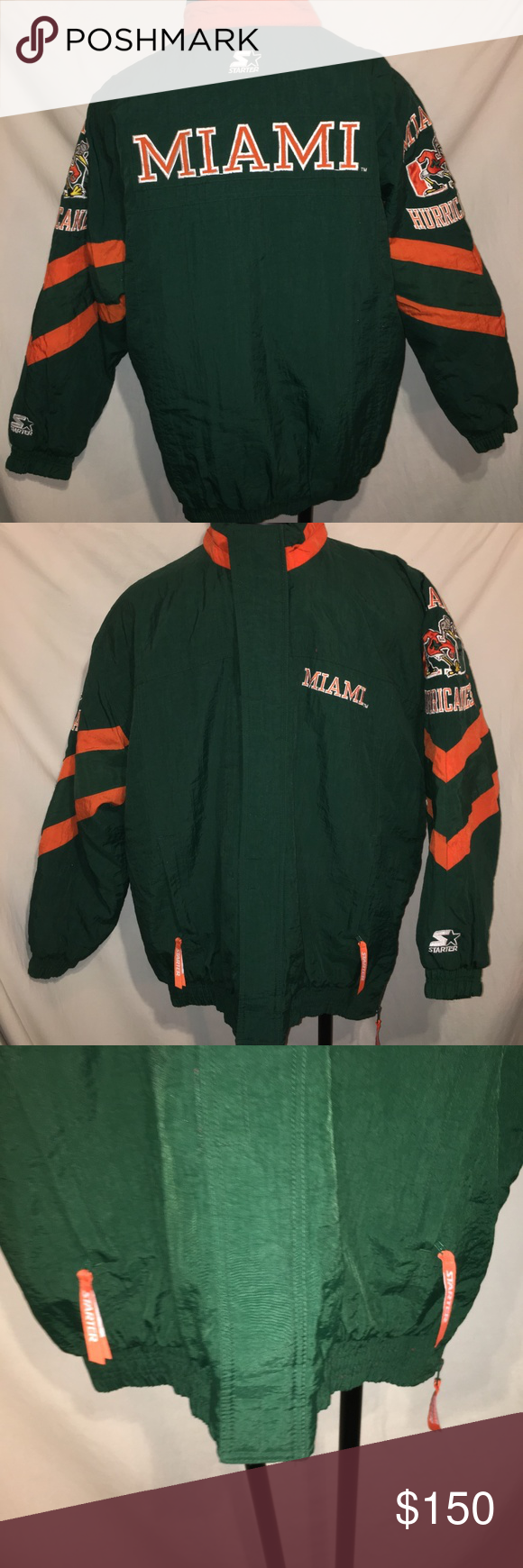 Vintage 90 S Miami Hurricanes Starter Jacket Xl Vintage 90 S Starter Jacket Miami Hurricanes Full Zip Heavy Jacket Size Xl Jackets Heavy Jacket Clothes Design
