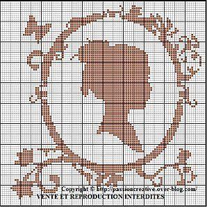 Grille gratuite point de croix femme m daillon baroque le blog point de croix scoop - Blog broderie point de croix grilles gratuites ...