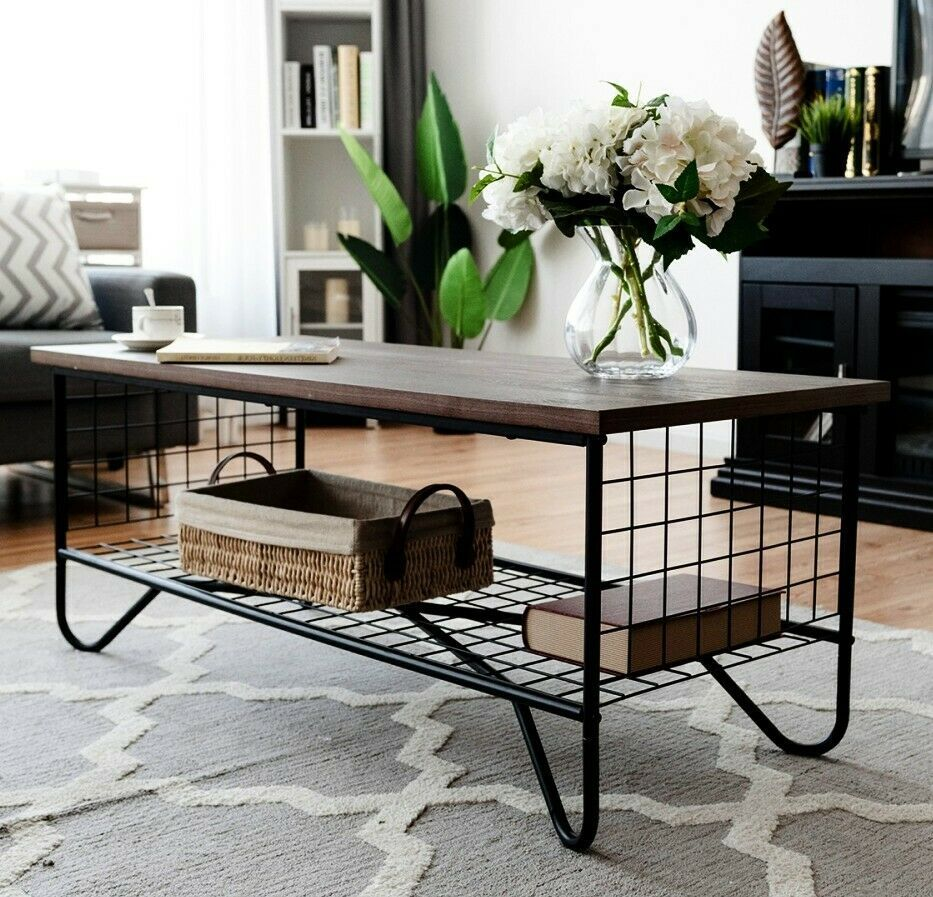 Unique Coffee Table Industrial Wire Mesh Wood Metal Low Storage