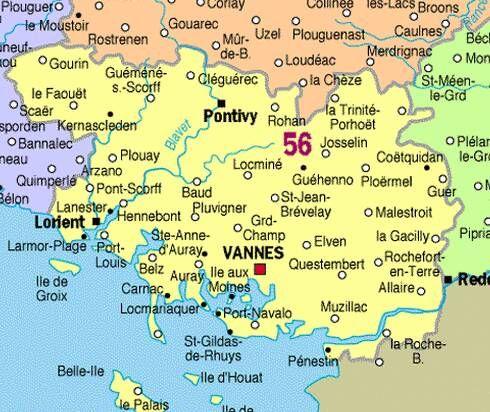 Carte du Morbihan 56 , BretagneFrance | Ici et la bas