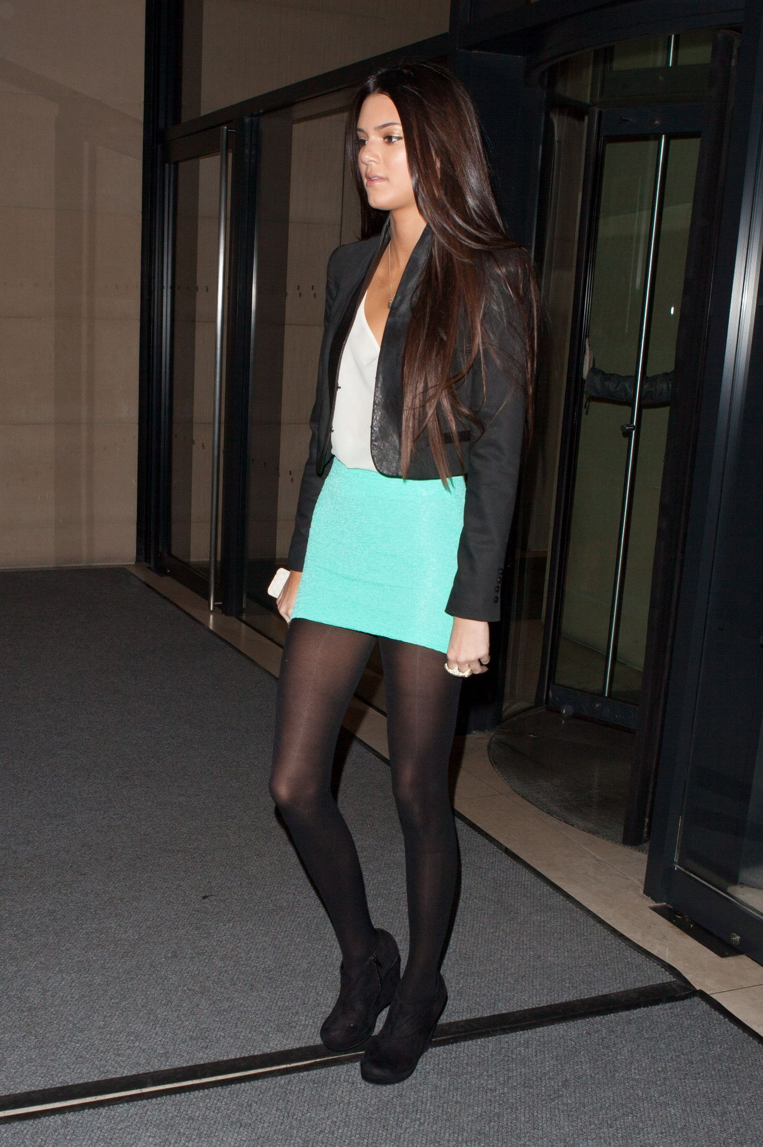 Fashion look from june 2014 featuring thigh high hosiery purple - Kendall Jenner In Pantyhose Http Stockings Celebs Blogspot Com
