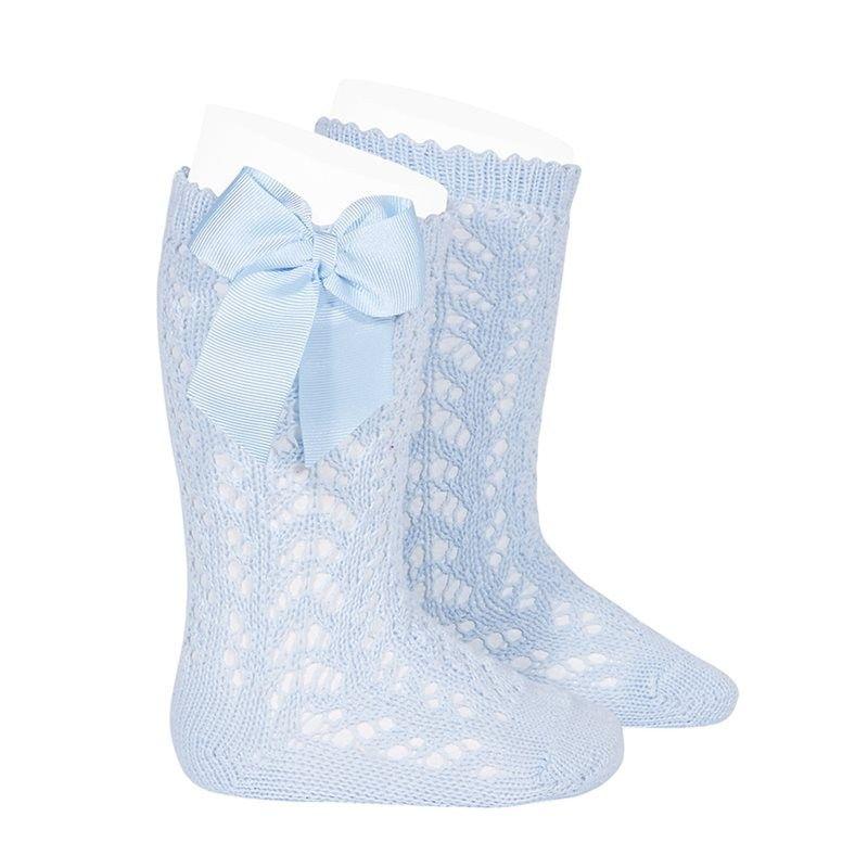 8dd59f88b Calcetines altos calados con lazo de Cóndor - Azul bebé