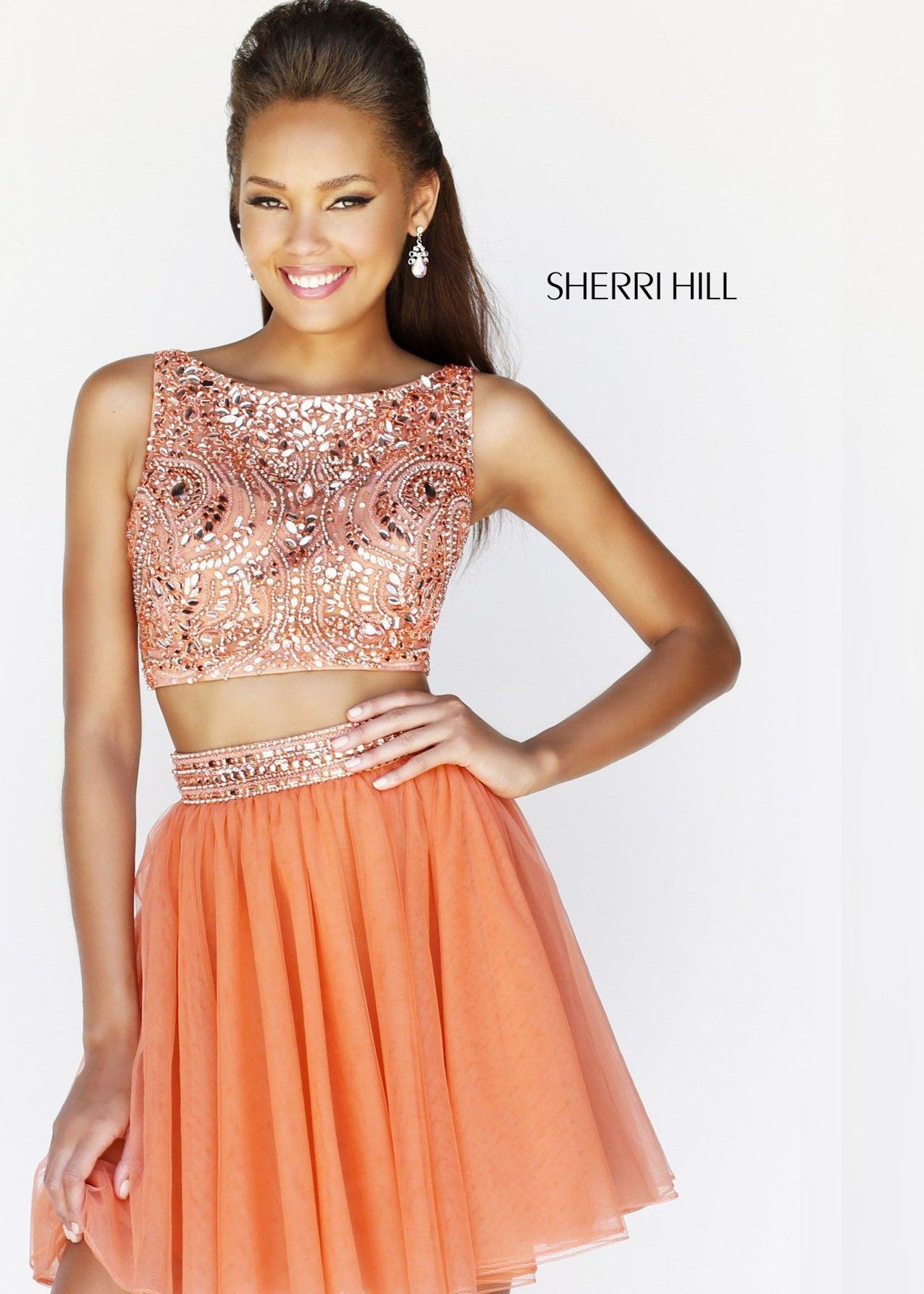 Sherri hill beaded two piece short dress for homecoming