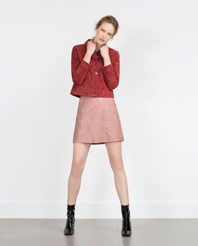604ee54b8a ZARA - WOMAN - FAUX LEATHER SKIRT---love dat triangle. tried in on in  store