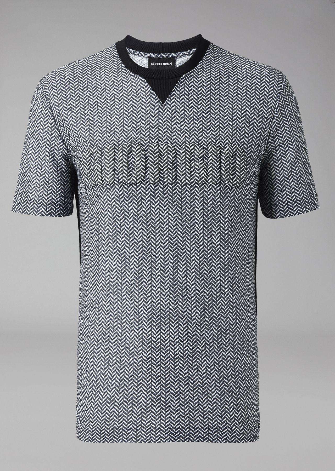 c046fa47e5 T-shirt in chevron pattern jersey with Giorgio print | Man | Giorgio ...