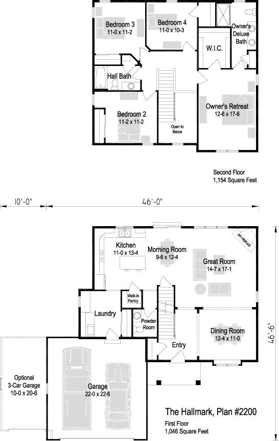 The Hallmark Plan 2524 2 Story 2 524 Sq Ft 4 Bedroom 2 5 Bath Floor Plans New Homes House Plans