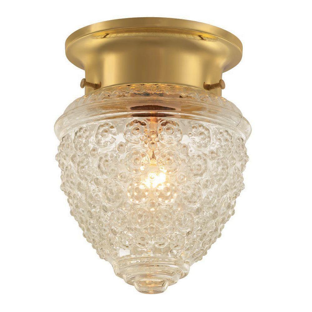 Hallway flush mount lighting  Hampton Bay Light Polished Brass Flushmount Light with Acorn