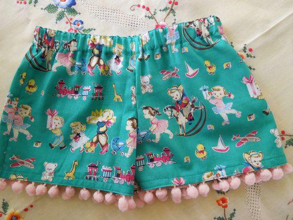 Pom Pom Shorts in Vintage look fabric.  Size 2 by SweetPoppyKids, $15.00