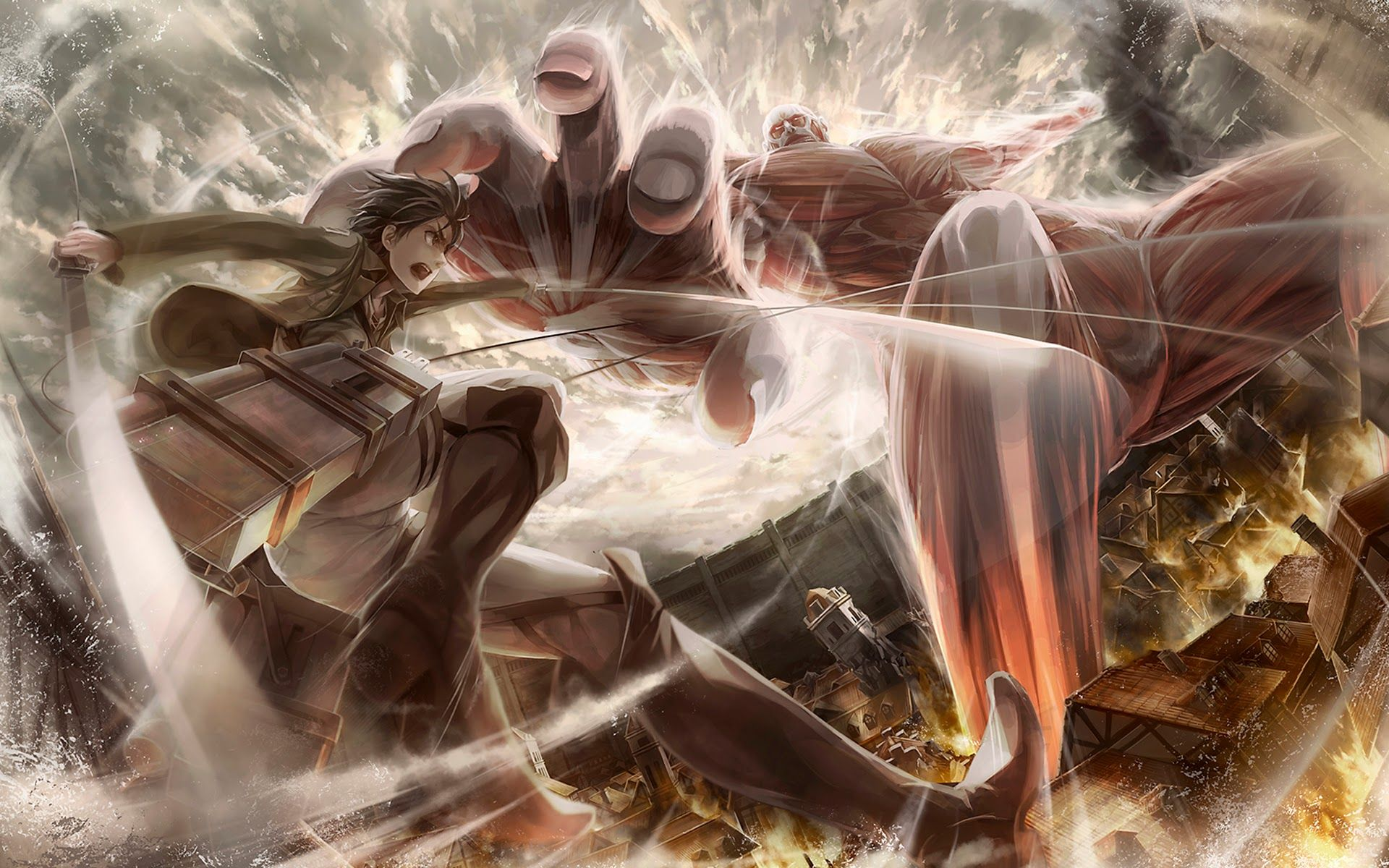 Colossal Titan Vs Eren Jaeger Attack On Titan Hd Wallpaper 1920x1200 Jpg 1920 1200 Attack On Titan Anime Titans