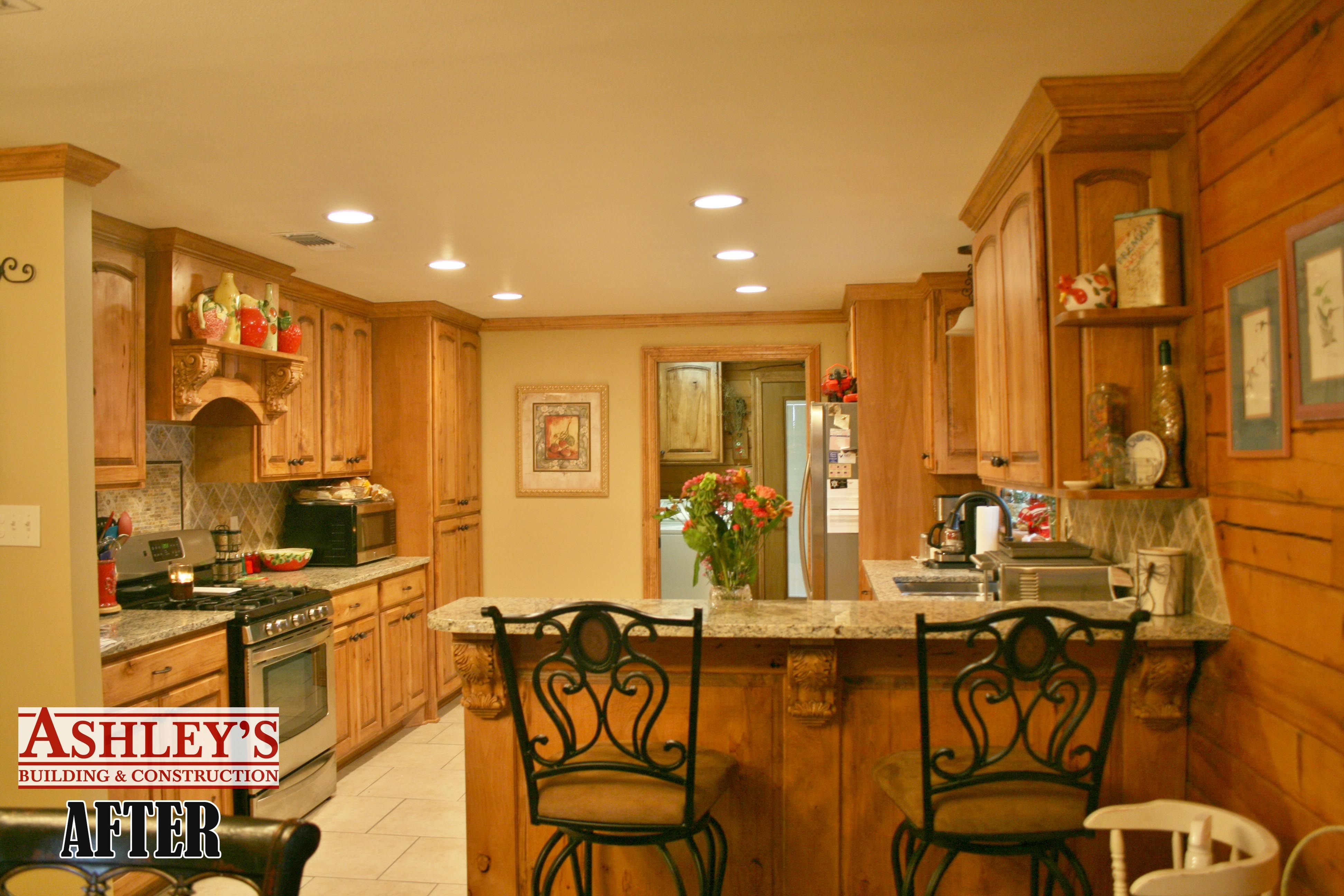 Rustic Beech Cabinets Ashleys Building After Remodel New Granite Countertops Custom