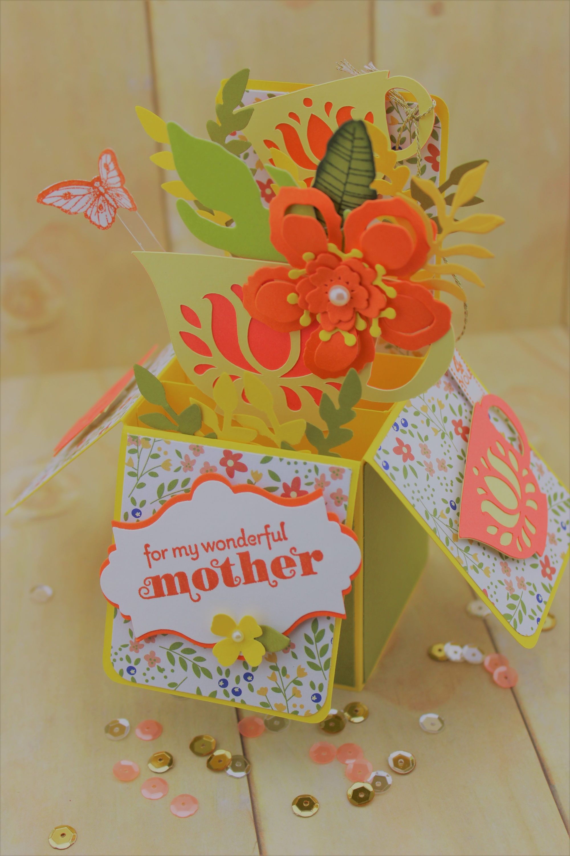 Mothers Day Pop Up Box Card, Card In A Box