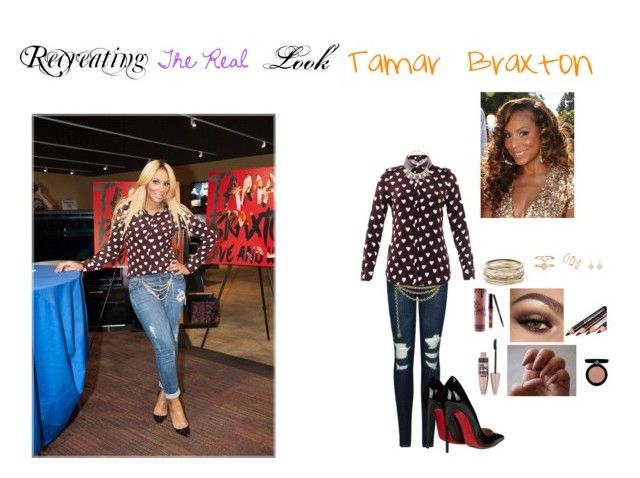 """""""Recreating THE REAL look: Tamar Braxton"""" by jakbro ❤ liked on Polyvore featuring J Brand, Judith Leiber, Burberry, Christian Louboutin, Kendra Scott, ABS by Allen Schwartz, Accessorize, Irene Neuwirth, Kylie Cosmetics and Maybelline"""