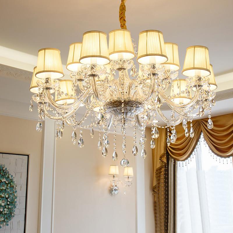 European Simple Crystal Chandelier Modern Pendant Light Living