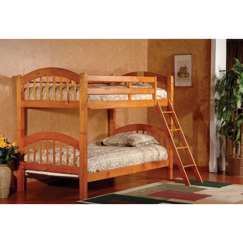 K and B Furniture Co Inc Arched Twin Honey Oak Finish Bunk Bed