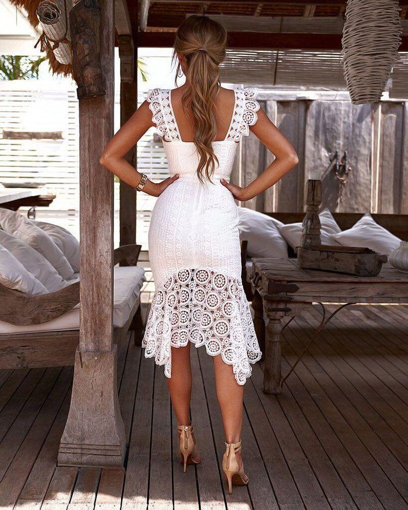 White Crochet Lace Spaghetti Strap Skater Dress Choies Com Platya [ 1080 x 810 Pixel ]