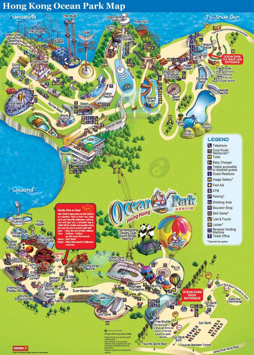 Detailed Map of Hong Kong Ocean Park Map Ideas Pinterest Ocean