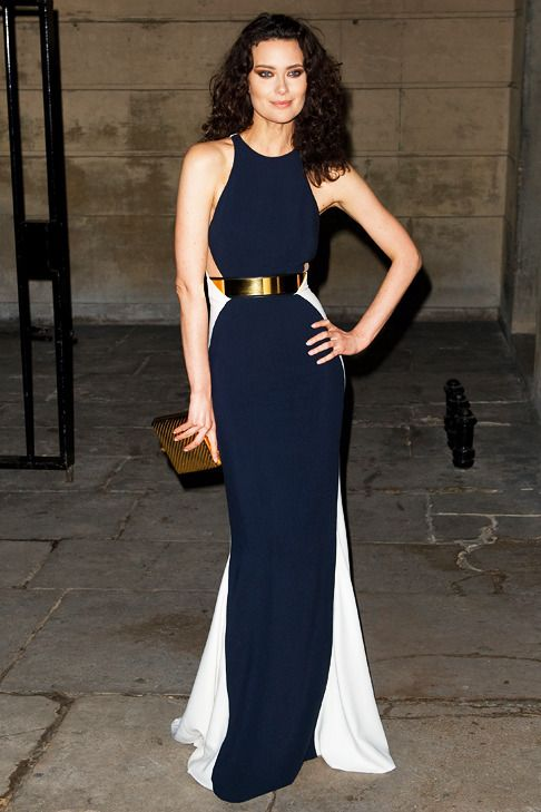 Stella McCartney Magical Mojo navy and white color blocked halter ...