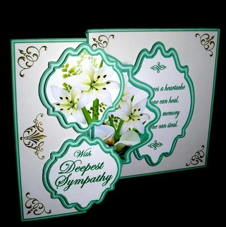 Fold back pop up Deepest Sympathy on Craftsuprint designed by Carol Dunne - made by Dianne Jackson - I printed onto 200 gram smooth card and cut, scored and folded the card base on the required lines. I printed out the toppers twice to decoupage an inner layer and added using sticky pads. Decoupaging an extra layer on all the 4 toppers just gives a little more depth and interest.  - Now available for download!