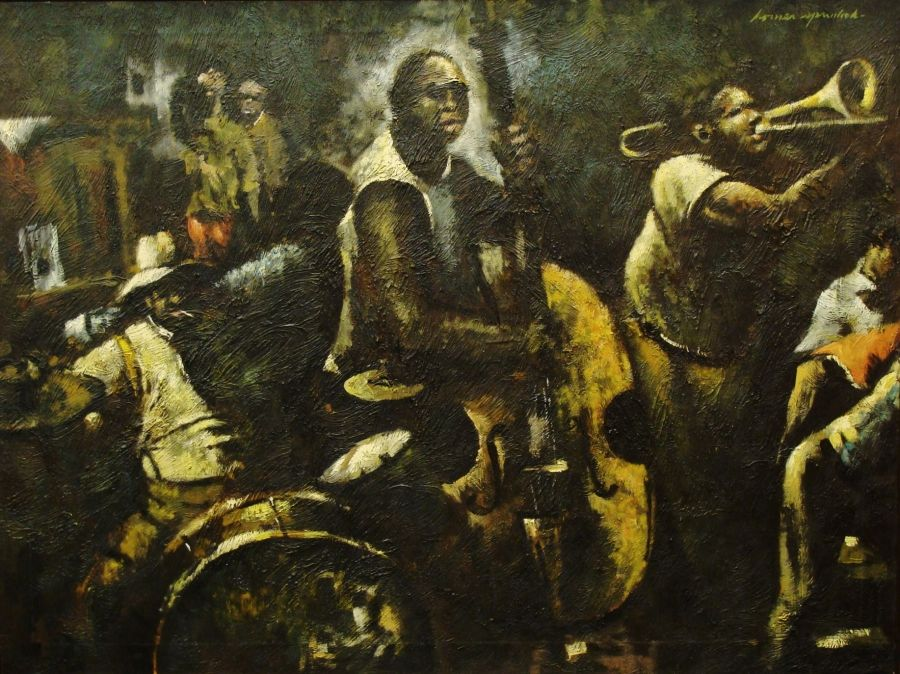 """Homer Spurlock """"Late Night at the Club"""" 30x40 Oil on Canvas"""