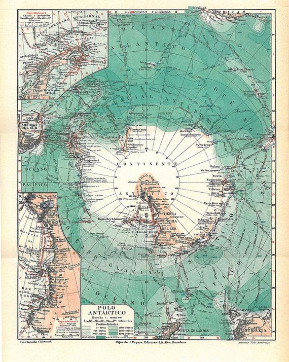 1920s Antarctica Vintage Map South Pole Expeditions Vintage maps