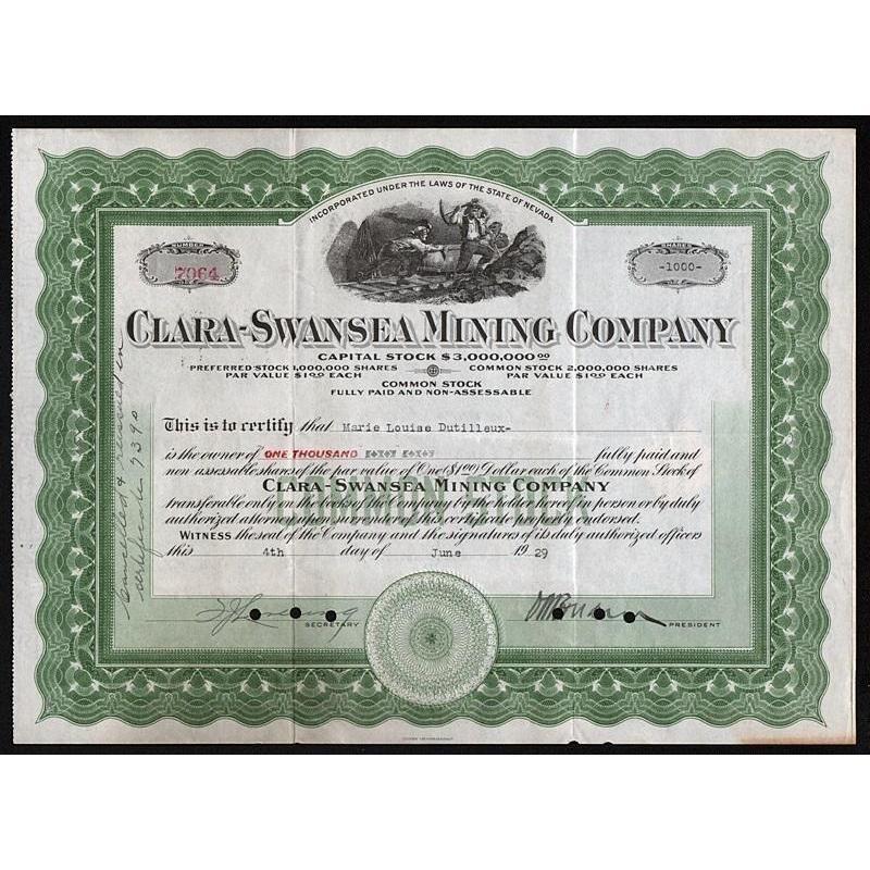 ClaraSwansea Mining Company Artonpapers Mining
