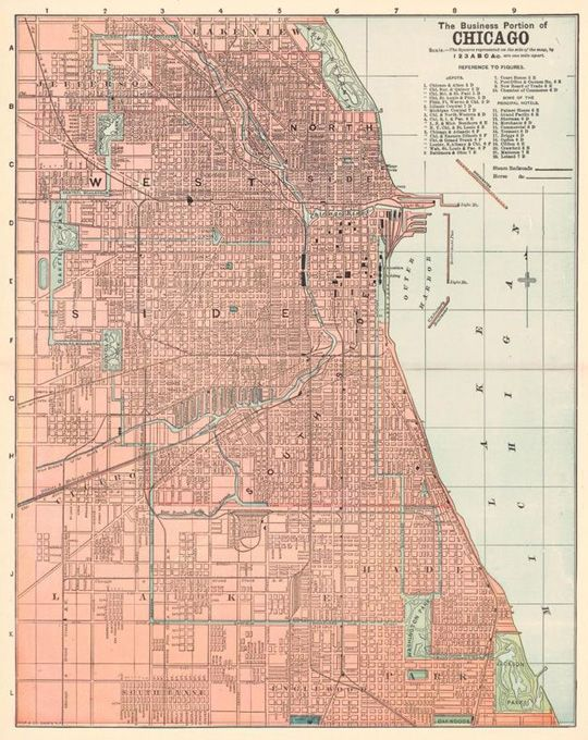 Old Chicago Map Birds Eye View Aerial View Cartography