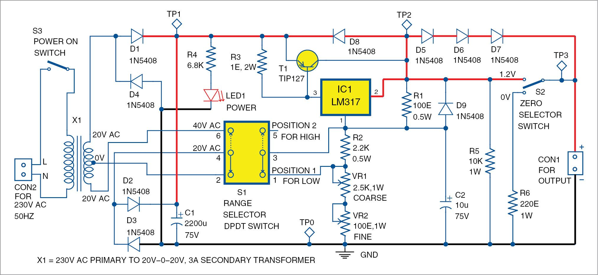 small resolution of designing 0 50v variable power supply using lm317 ic