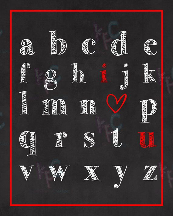 8x10 ABC I Love You Printable Nursery Sign by KiddiePartyCreations