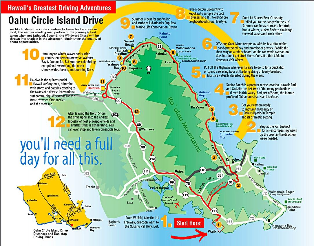 All Oahu Images (or See Separate Collections)   Oahu Circle Drive Map   Oahu vacation, Oahu, Hawaiian travel