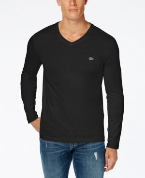 85cad339 Lacoste Men's V-Neck Long Sleeve Jersey T-Shirt - White   Products ...