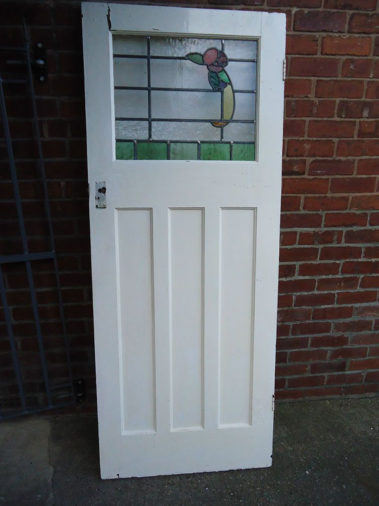 1930s Art Deco Internal Door With Original Stained Glass Dn22 Area Art Deco Door 1930s Art Deco Stained Glass
