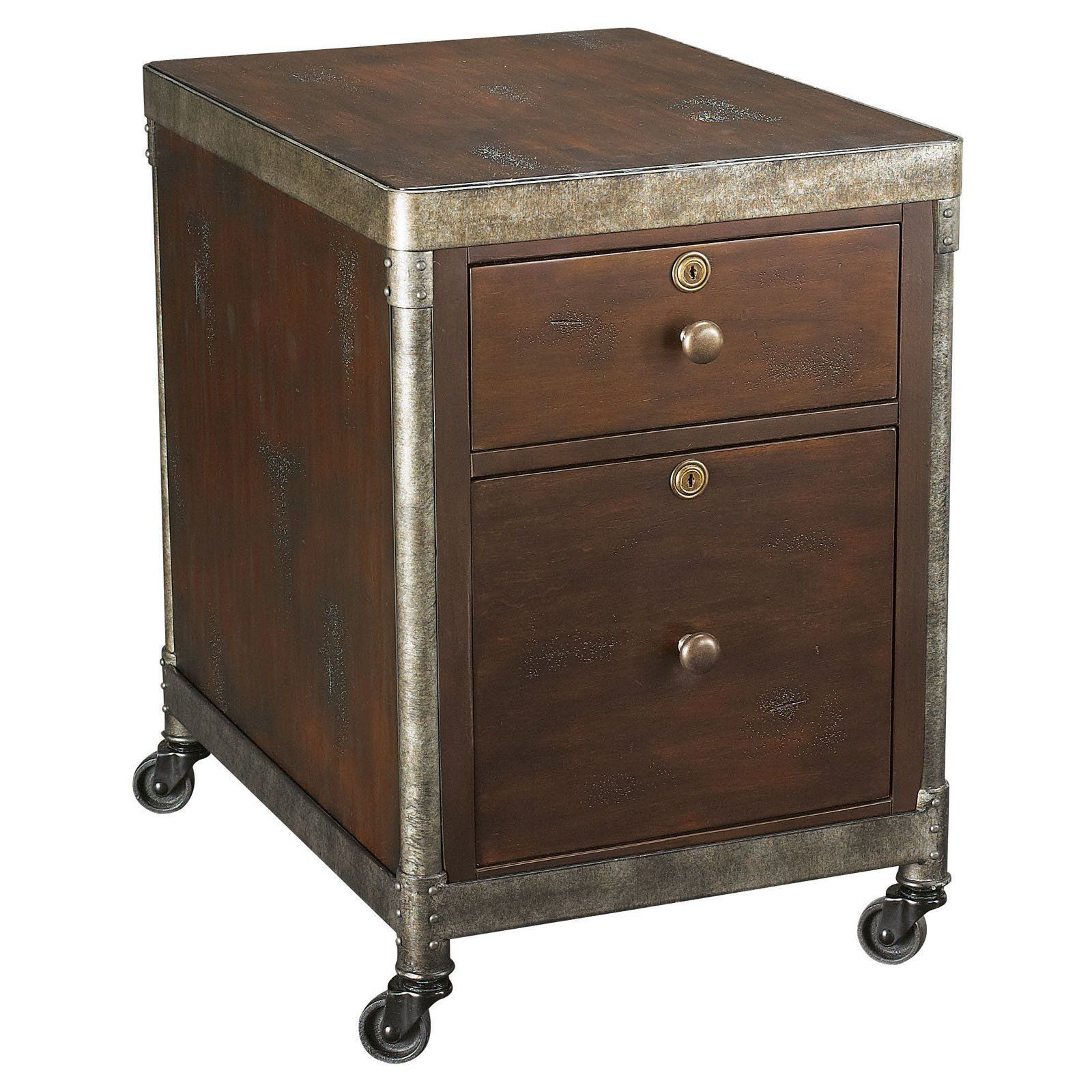 Hammary structure 2 drawer rolling file cabinet heavily distressed brown t3002046 00