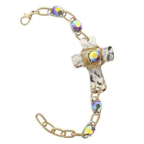 Jane Marie Rhinestone Cross Two-Tone Bracelet - Bright Lavender