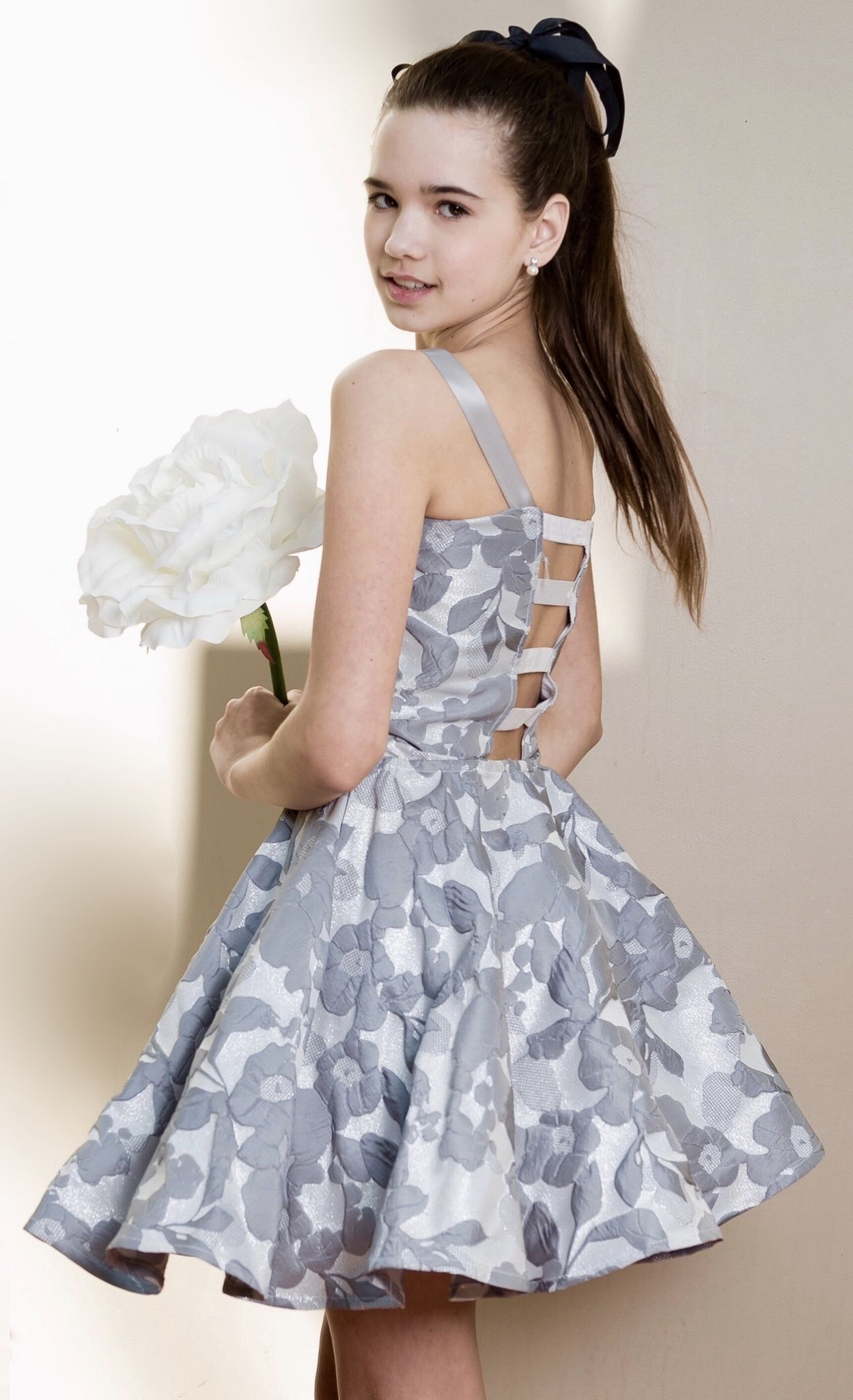 silver  grey tween party dress from stella m'lia  daddy