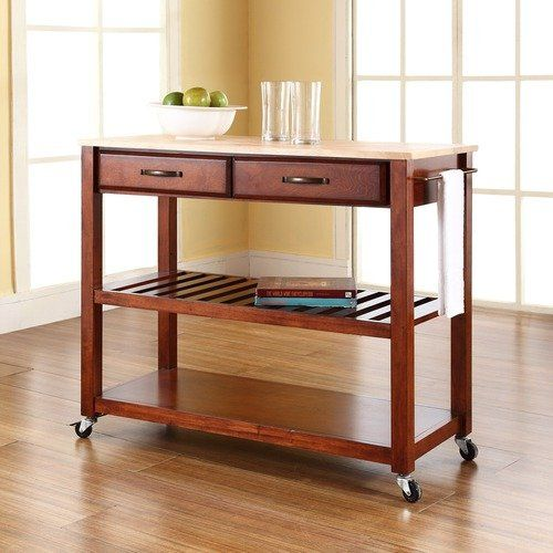 Crosley Natural Wood Top Kitchen Cart/Island with Optional Stool Storage in Classic Cherry, 18W, 36H