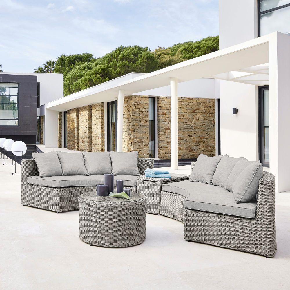 Salon de jardin rond Cape Town en résine tressée grise - Salon de ...