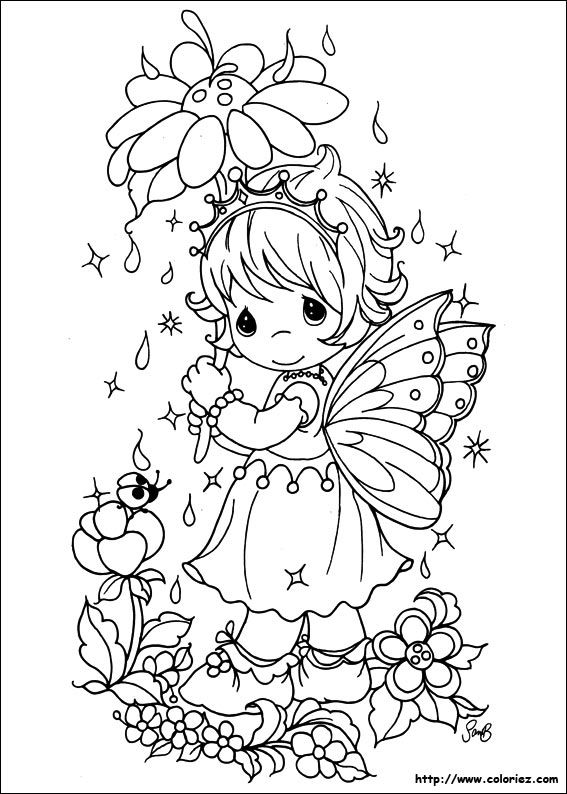 Precious Moments Fairy With A Flower Coloring Pages Fantasy