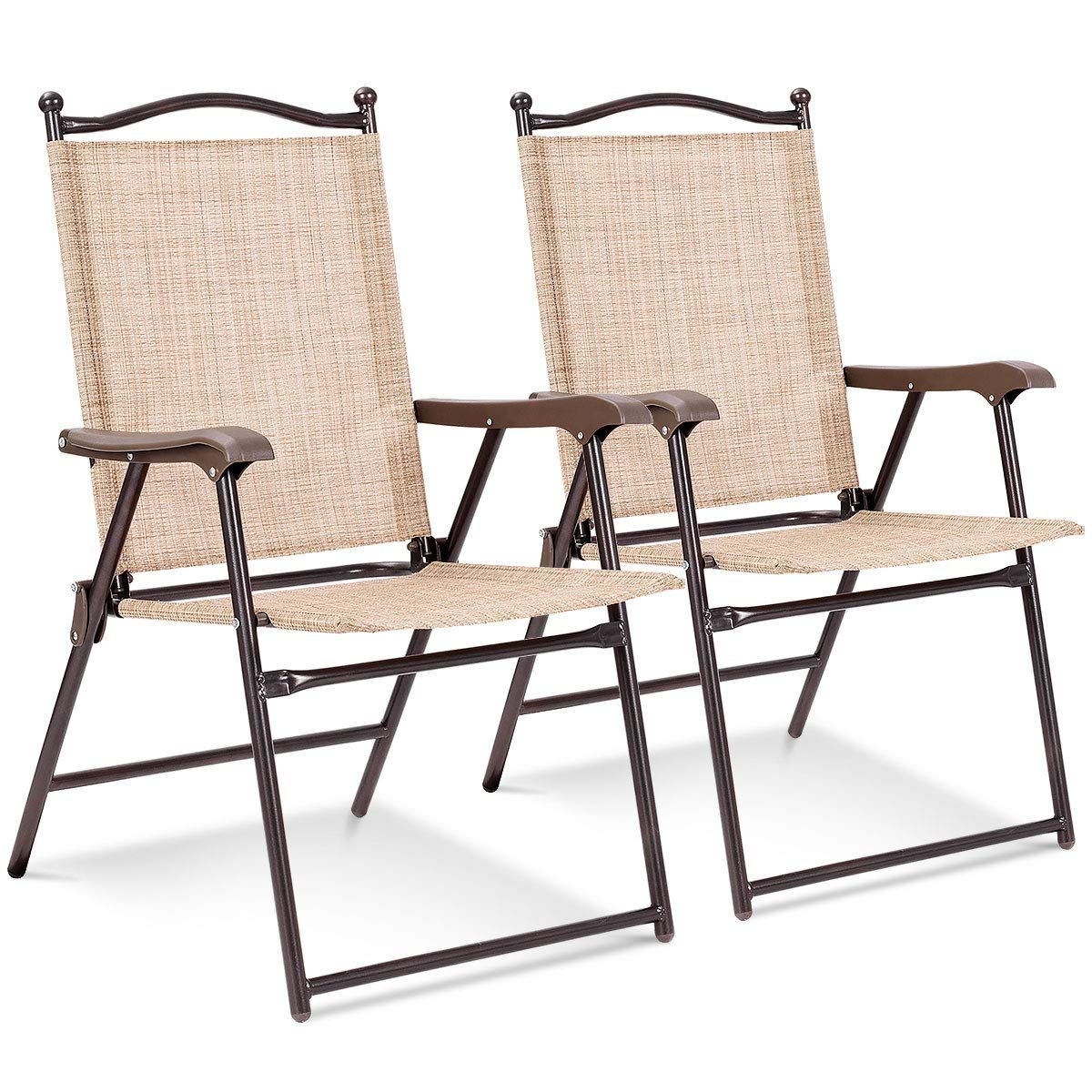 Giantex Patio Folding Chairs Sling Back Chairs Indoor
