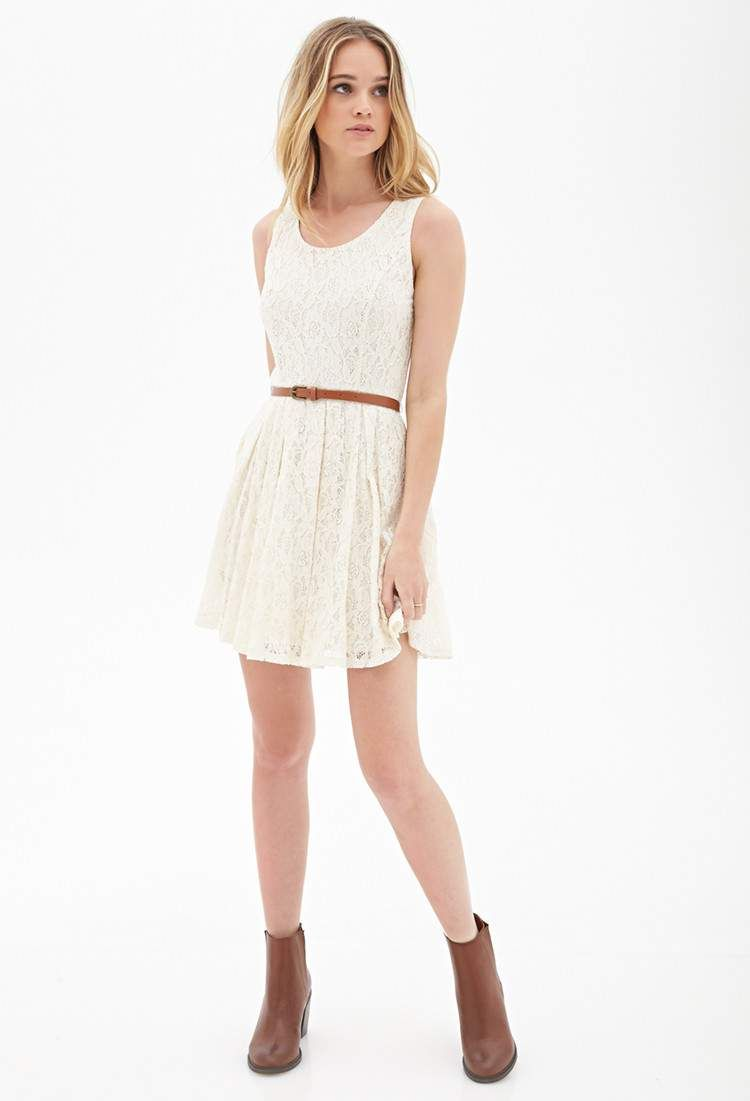 Lyst Forever 21 Belted Crochet Lace Dress In White Dresses For Teens Fashion Casual Dresses For Teens