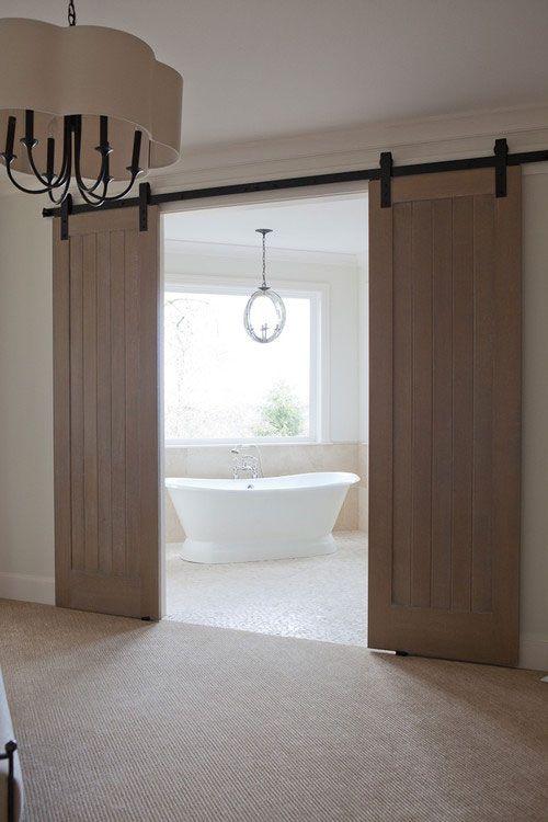 20 ประต ห องน ำบานเล อนช วยประหย ดพ นท Traditional Bedroom Design Bathroom Barn Door Master Bedroom Traditional